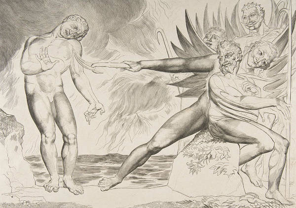 Relief - The Circle Of Corrupt Officials, The Devils Tormenting Ciampolo by William Blake