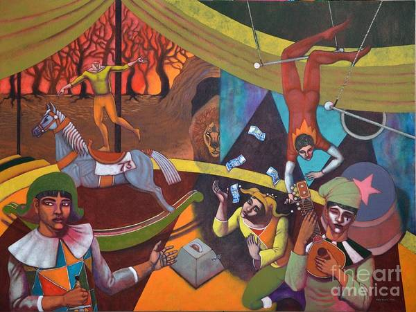 Wall Art - Painting - The Circus At The Lion's Den by Paul Hilario