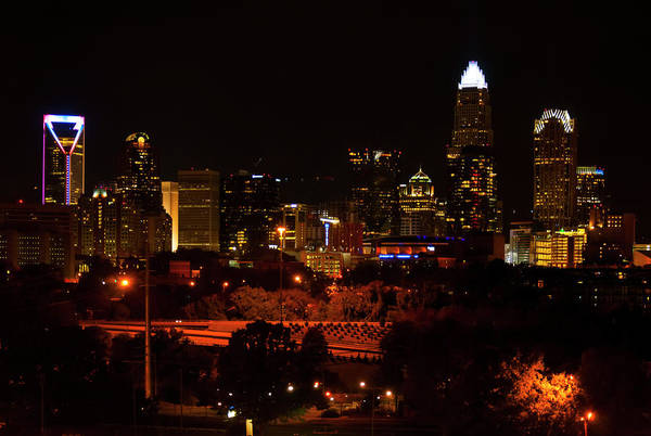 Charlotte Digital Art - The City Of Charlotte Nc At Night by Chris Flees