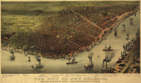 Wall Art - Painting - The City Of New Orleans, And The Mississippi River Lake Pontchartrain In Distance by Currier