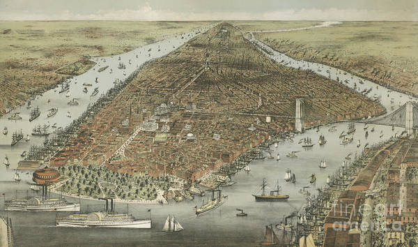 Wall Art - Painting - The City Of New York by Currier and Ives