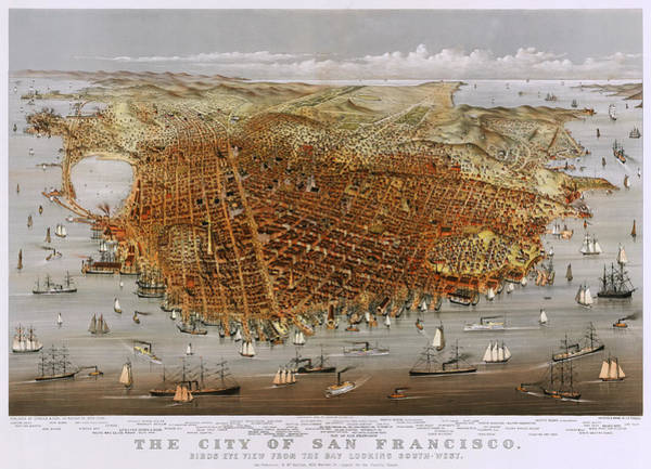 Currier And Ives Painting - The City Of San Francisco 1878 by Mountain Dreams