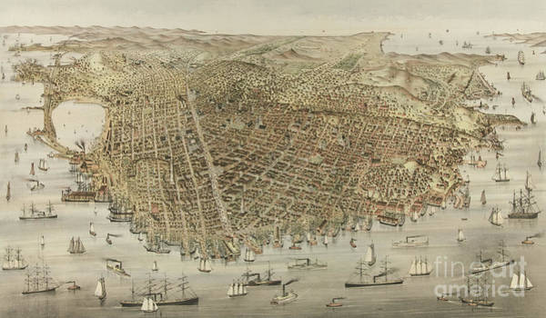 Currier And Ives Painting - The City Of San Francisco by Currier and Ives