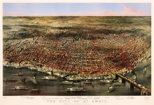 Currier And Ives Painting - The City Of St Louis 1874 by Mountain Dreams