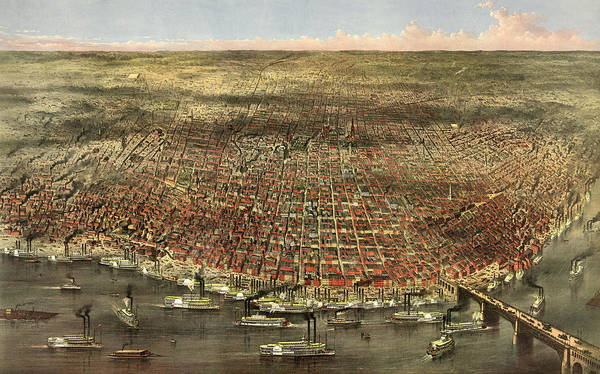 Victorian Era Painting - The City Of St. Louis, Circa 1874 by Currier and Ives