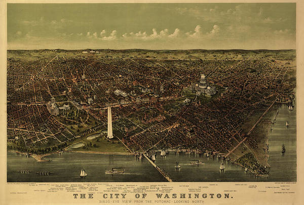 Wall Art - Painting - The City Of Washington Birds-eye View From The Potomac-looking North by Currier