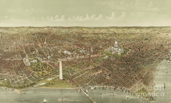 Currier And Ives Painting - The City Of Washington by Currier and Ives