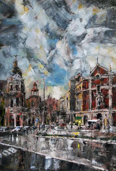 Painting - The City Touched By The Sunset by Stefano Popovski