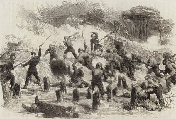 Roanoke Island Wall Art - Drawing - The Civil War In America  General Burnside's Expedition by American School
