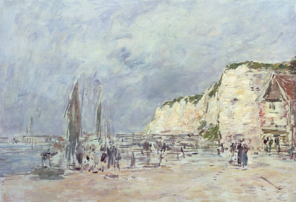 Coast Line Painting - The Cliffs At Dieppe And The Petit Paris by Eugene Louis Boudin
