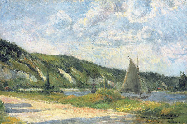 Bay Of Green Bay Wall Art - Painting - The Cliffs Of La Bouille by Paul Gauguin