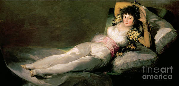 Flirtatious Painting - The Clothed Maja by Goya