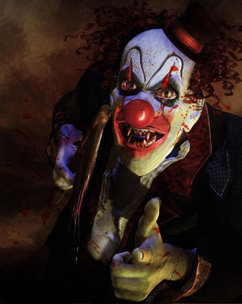 Twisted Digital Art - The Clown by Karen Koski