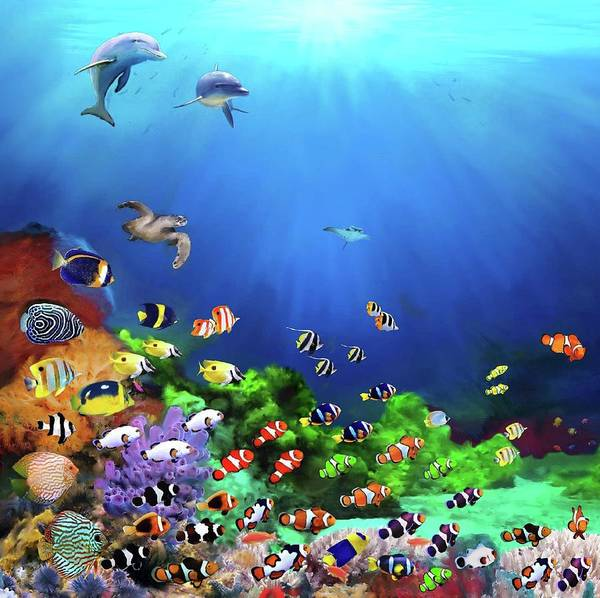 Clownfish Painting - The Clowns Of The Ocean - 1a - 30x30 by Gabriel Morales