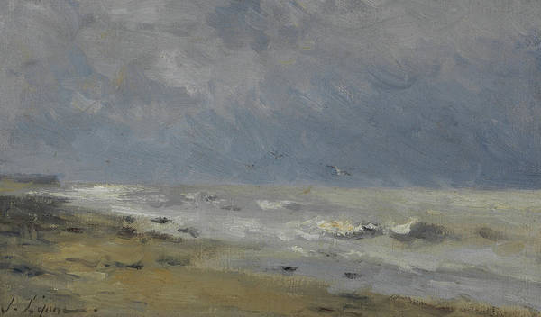 Sea Land Painting - The Coast Of Normandy by Stanislas Victor Edouard Lepine