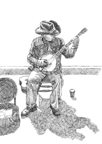 Drawing - The Cold Banjo Player by Dominic White