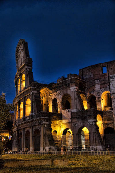 Historic Site Photograph - The Coleseum In Rome At Night by David Smith