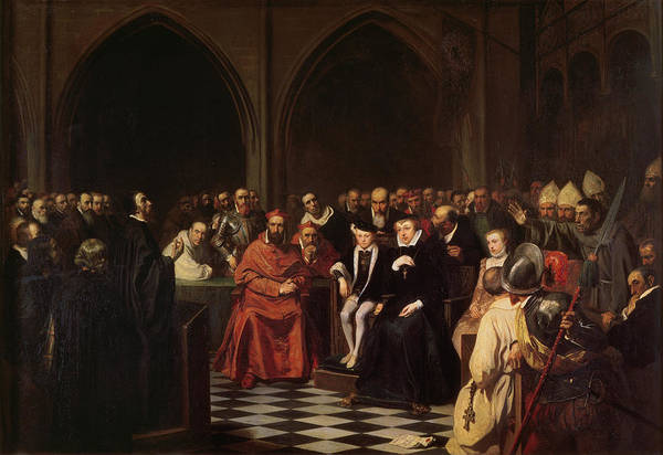Groups Of People Painting - The Colloquy Of Poissy by Joseph-Nicolas Robert-Fleury