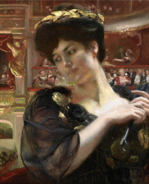 Francaise Painting - The Comedie Francaise Possibly A Portrait Of The Actress Gabrielle Rejane by Paul Albert Besnard