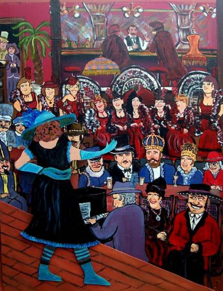 Piano Bar Painting - The Competition by Richard  Hubal