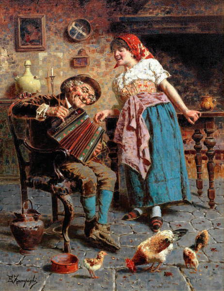 Rural Life Wall Art - Painting - The Concertina by Eugenio Zampighi