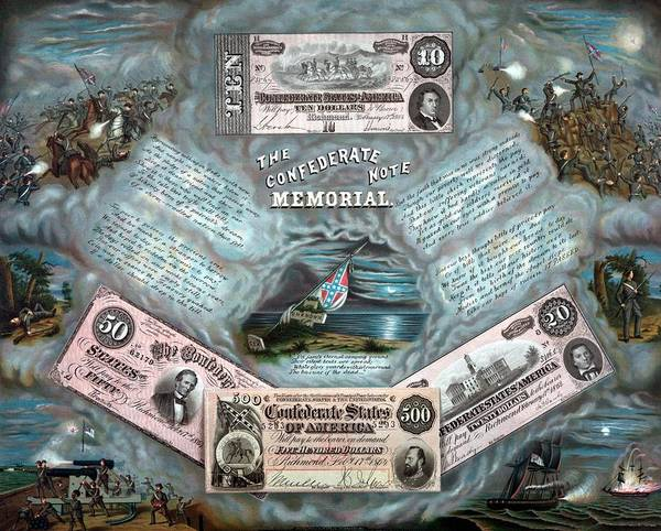 Note Wall Art - Painting - The Confederate Note Memorial  by War Is Hell Store