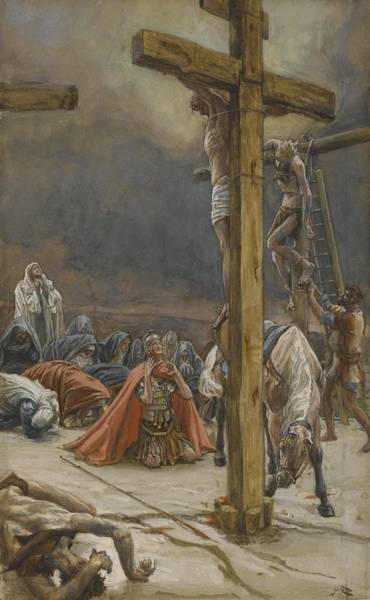 Kneeling Painting - The Confession Of Saint Longinus by Tissot