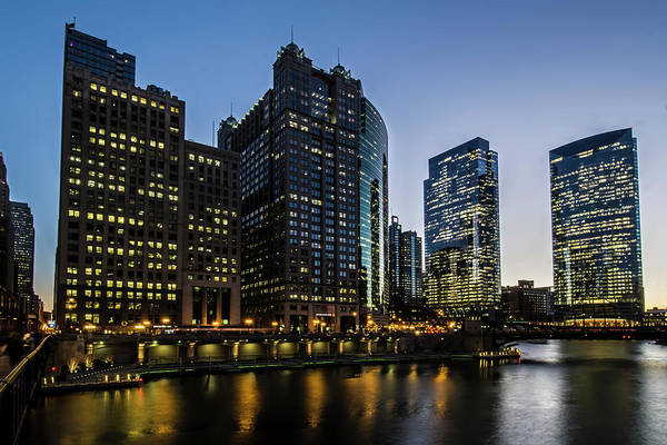 Photograph - The Confluences Of The Chicago Rivers At Dusk  by Sven Brogren