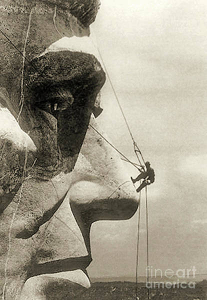 Nose Photograph - The Construction Of The Mount Rushmore National Memorial, Detail Of Abraham Lincoln,1928  by American School