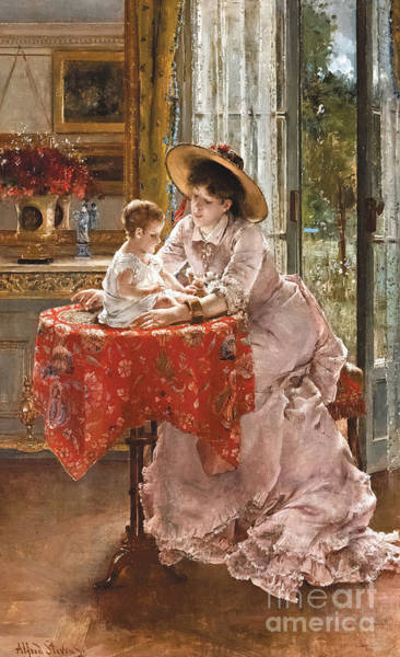 Wall Art - Painting - The Contented Mother by Alfred Emile Stevens