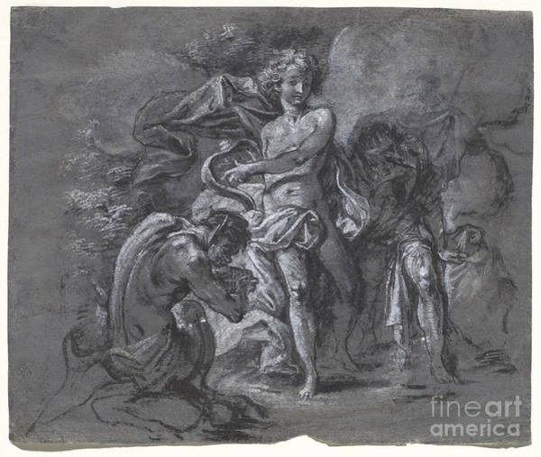 Wall Art - Drawing - The Contest Between Apollo And Pan Before King Midas by Joseph Werner