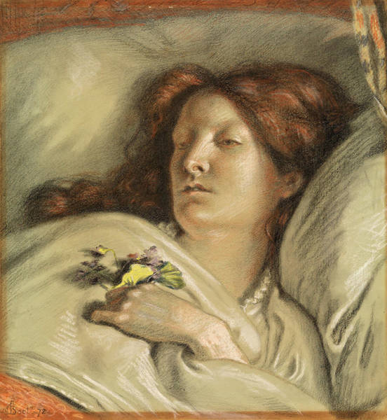 Wall Art - Drawing - The Convalescent. A Portrait Of The Artist's Wife by Ford Madox Brown
