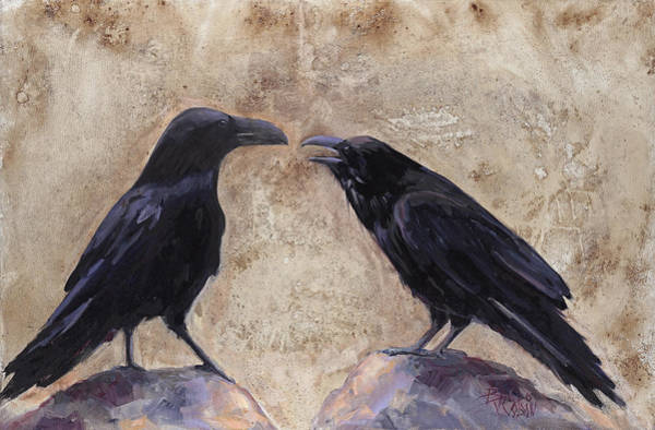 Blackbird Painting - The Conversation by Billie Colson