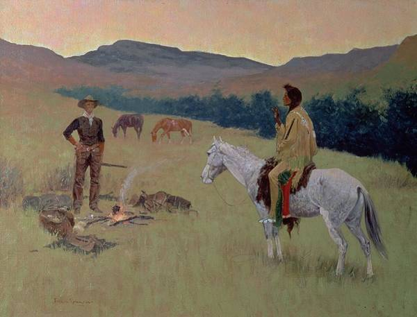 Horseback Wall Art - Painting - The Conversation by Frederic Remington