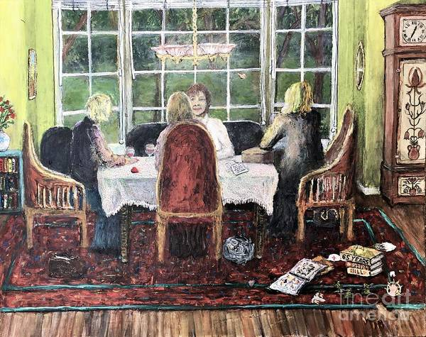 Grandfather Clock Painting - The Conversation by Richard Wandell