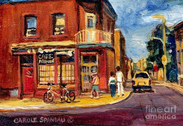 Painting - The Corner Coffee Shop Montreal Memories Original City Scene Paintings Canadian Art Carole Spandau by Carole Spandau