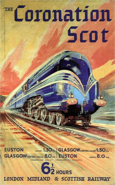 Vintage Train Painting - The Coronation Scot - Vintage Blue Locomotive Train - Vintage Travel Advertising Poster by Studio Grafiikka