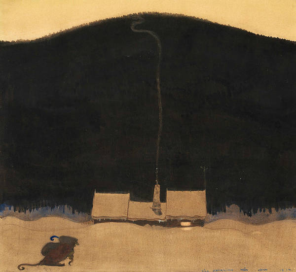 Troll Wall Art - Painting - The Cottage At The Foot Of The Mountain by John Bauer