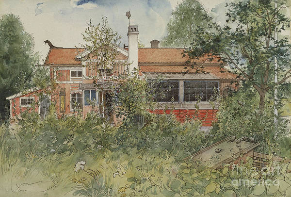 Farmstead Painting - The Cottage by Carl Larsson