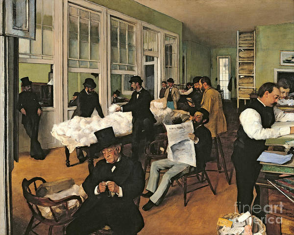 Cotton Painting - The Cotton Exchange by Edgar Degas