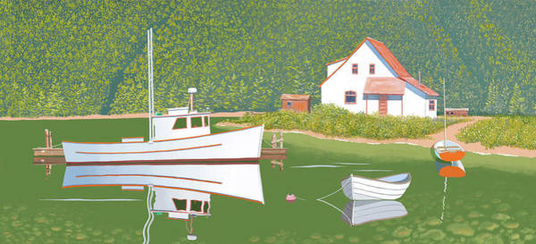 Digital Art - The Cottsge At Blackberry Point by Gary Giacomelli