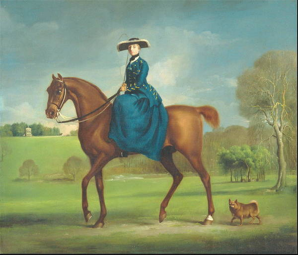 Jogging Painting - The Countess Of Coningsby In The Costume Of The Charlton Hunt Ca. 1760 by George Stubbs