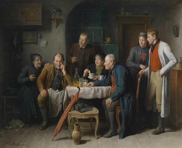 Austrian Painting - The Courtship  by Friedrich Friedlander