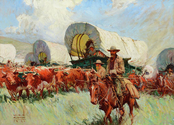 D.w Painting - The Covered Wagon by MotionAge Designs