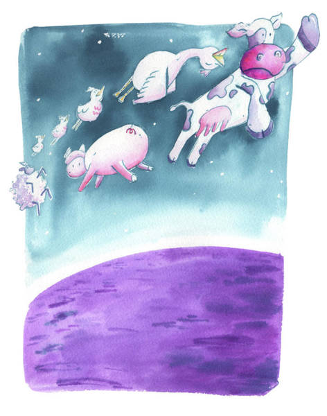 Wall Art - Painting - The Cow Jumped Over The Moon by Kristy Lankford