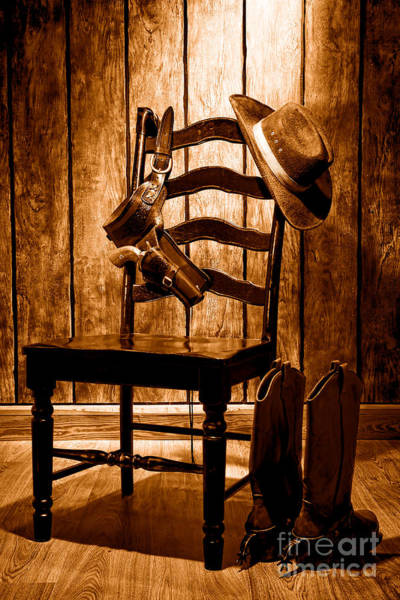 Wall Art - Photograph - The Cowboy Chair - Sepia by Olivier Le Queinec