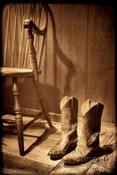 Photograph - The Cowgirl Boots And The Old Chair by American West Legend By Olivier Le Queinec