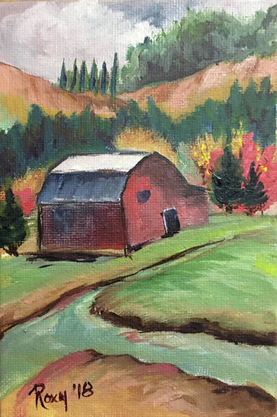 Red Painting - The Creek by Roxy Rich