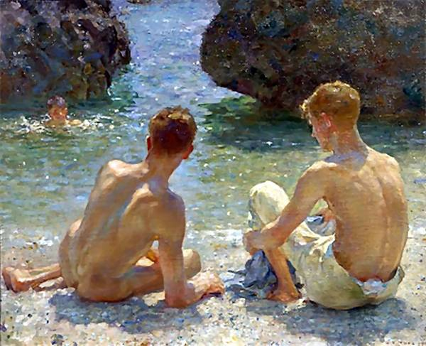 Painting - The Critics by Henry Scott Tuke