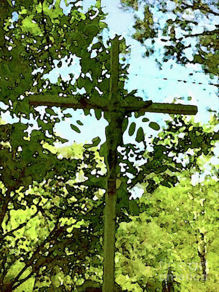 Park Bench Digital Art - The Cross In Nature by Jon Fennel